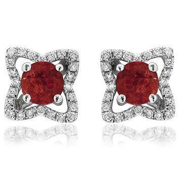 Cross Ruby Stud Earrings with Diamond Frame 14KT Gold