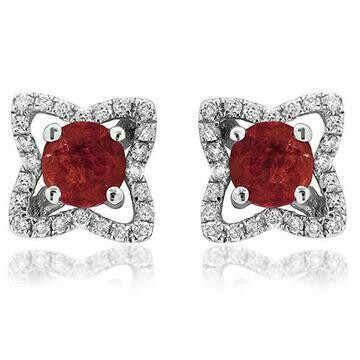 Cross Ruby Stud Earrings with Diamond Frame White Gold