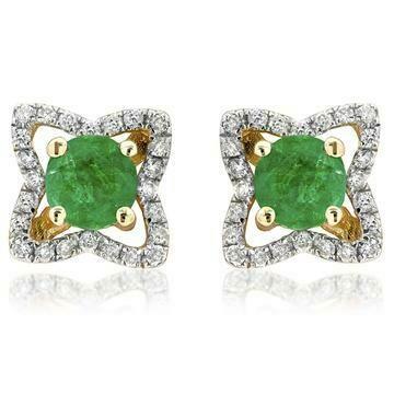 Cross Emerald Stud Earrings with Diamond Frame Yellow Gold