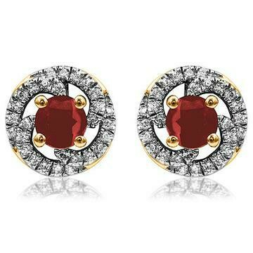 Ruby Swirl Stud Earrings with Diamond Frame Yellow Gold