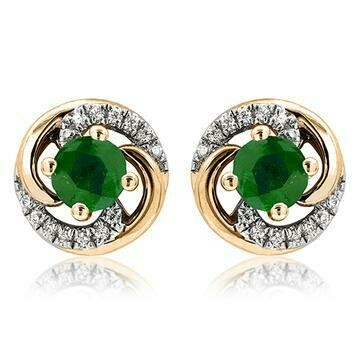 Emerald Swirl Stud Earrings with Diamond Accent Yellow Gold