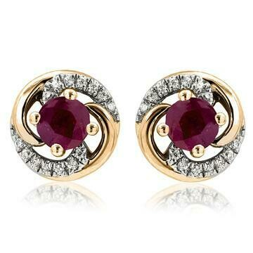 Ruby Swirl Stud Earrings with Diamond Accent Yellow Gold
