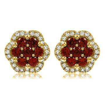 Floral Ruby Cluster Stud Earrings with Diamond Frame Yellow Gold