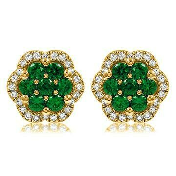 Floral Emerald Cluster Stud Earrings with Diamond Frame Yellow Gold