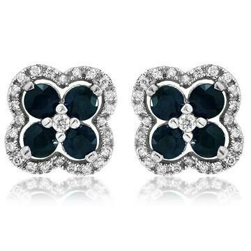 Clover Blue Sapphire Stud Earrings with Diamond Frame White Gold