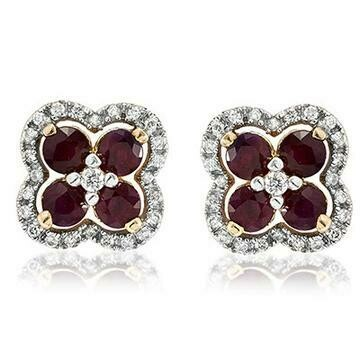 Clover Ruby Stud Earrings with Diamond Frame Yellow Gold