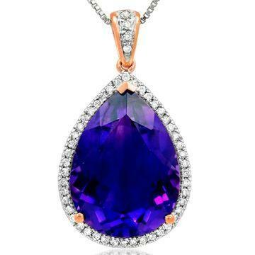 Premium Amethyst Teardrop Pendant with Diamond Accent Rose Gold