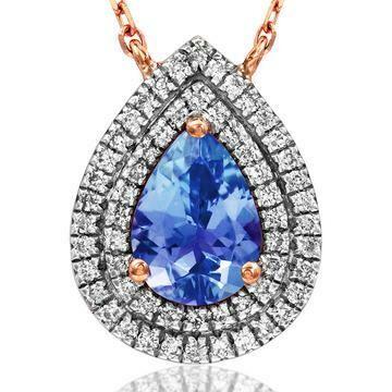 Teardrop Tanzanite Pendant with Diamond Frame Rose Gold