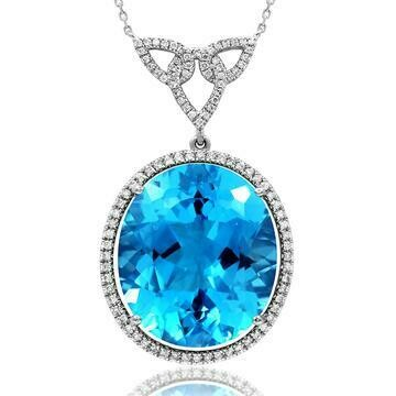 Premium Oval Blue Topaz Pendant with Diamond Halo 14KT Gold