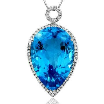 Premium Pear Blue Topaz Pendant with Diamond Halo 14KT Gold