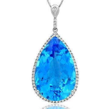 Premium Teardrop Blue Topaz Pendant with Diamond Halo 14KT Gold