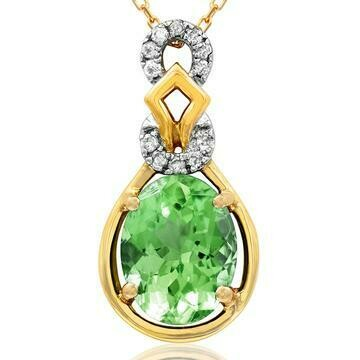 Oval Peridot Pendant with Diamond Accent 14KT Gold