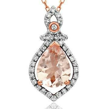 Teardrop Morganite Pendant with Diamond Frame 14KT Rose Gold
