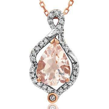 Morganite Leaf Pendant with Diamond Frame 14KT Rose Gold