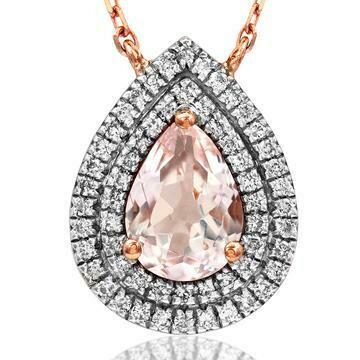 Teardrop Morganite Pendant with Diamond Double Halo 14KT Rose Gold