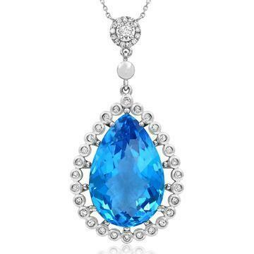 Premium Vintage Teardrop Blue Topaz Pendant with Diamond Frame 14KT Gold