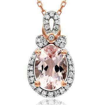 Oval Morganite Pendant with Diamond Frame 14KT Rose Gold