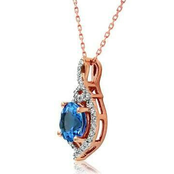 Round Tanzanite Pendant with Diamond Frame Rose Gold