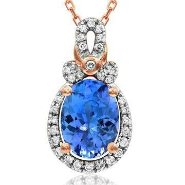 Oval Tanzanite Pendant with Diamond Frame Rose Gold