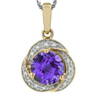 Whirl Amethyst Pendant with Diamond Frame Yellow Gold