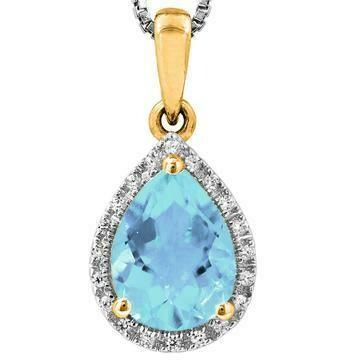 Pear Aquamarine Teardrop Pendant with Diamond Frame Yellow Gold