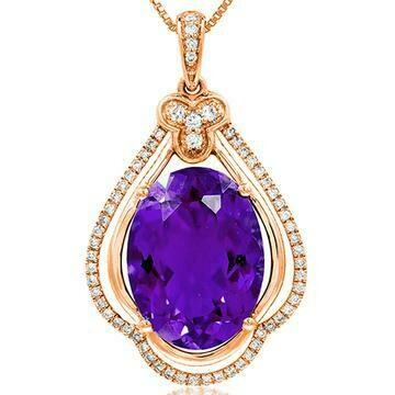 Premium Oval Amethyst Pendant with Diamond Frame Rose Gold