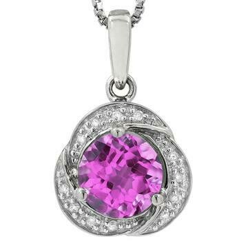 Whirl Pink Topaz Pendant with Diamond Frame 14KT Gold
