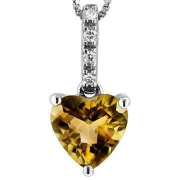 Heart Citrine Pendant with Diamond Bail 14KT Gold