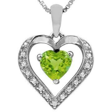 Heart Peridot Pendant with Diamond Accent 14KT Gold