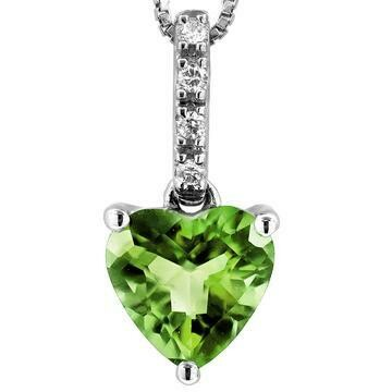 Heart Peridot Pendant with Diamond Bail 14KT Gold