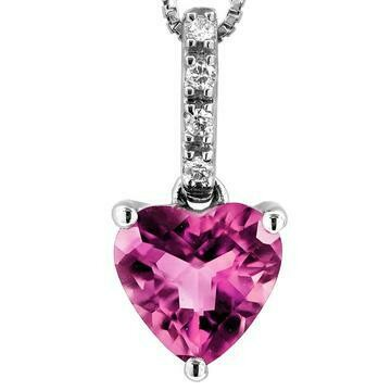 Heart Pink Topaz Pendant with Diamond Bail 14KT Gold