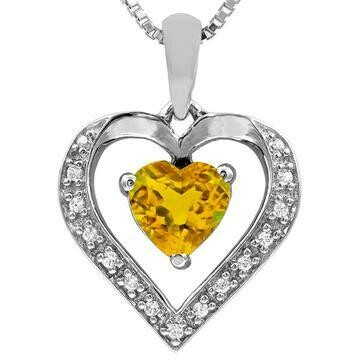 Heart Citrine Pendant with Diamond Accent 14KT Gold