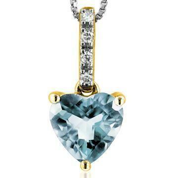 Heart Aquamarine Pendant with Diamond Bail Yellow Gold