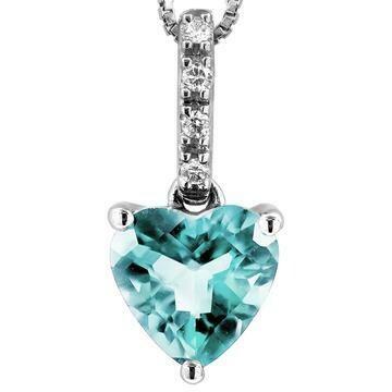 Heart Aquamarine Pendant with Diamond Bail White Gold