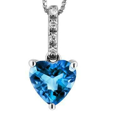 Heart Blue Topaz Pendant with Diamond Bail 14KT Gold