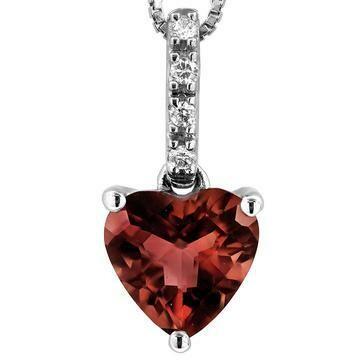 Heart Garnet Pendant with Diamond Bail 14KT Gold