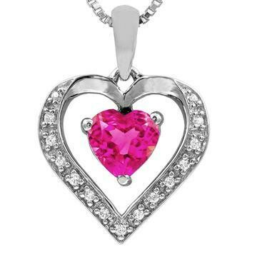 Heart Pink Topaz Pendant with Diamond Accent 14KT Gold