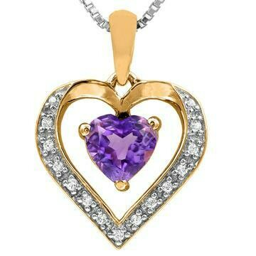 Heart Amethyst Pendant with Diamond Accent Yellow Gold