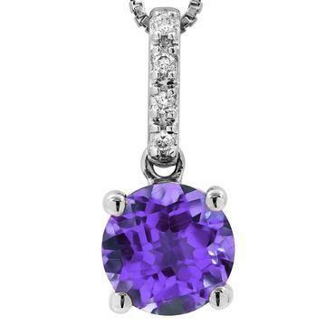 Amethyst Pendant with Diamond Bail 14KT Gold