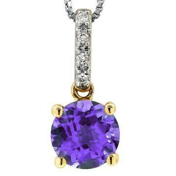 Amethyst Pendant with Diamond Bail Yellow Gold