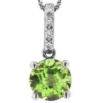 Peridot Pendant with Diamond Bail 14KT Gold