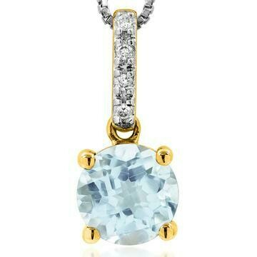 Aquamarine Pendant with Diamond Bail Yellow Gold
