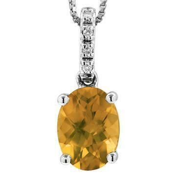 Oval Citrine Pendant with Diamond Bail 14KT Gold