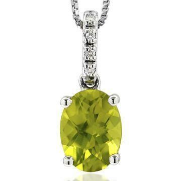 Oval Peridot Pendant with Diamond Bail 14KT Gold