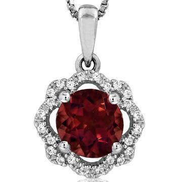 Floral Garnet Pendant with Diamond Frame 14KT Gold