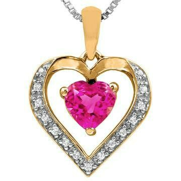 Heart Pink Topaz Pendant with Diamond Accent Yellow Gold