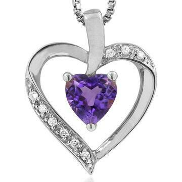 Heart Amethyst Pendant with Diamond Accent 14KT Gold