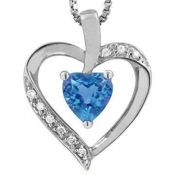 Heart Blue Topaz Pendant with Diamond Accent 14KT Gold