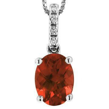 Oval Garnet Pendant with Diamond Bail 14KT Gold