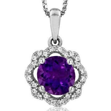 Floral Amethyst Pendant with Diamond Frame White Gold